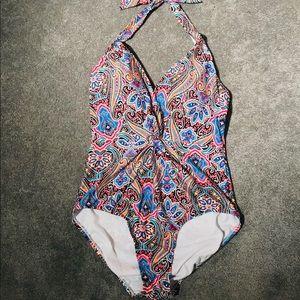 Jantzen paisley full piece bathing suit size 14
